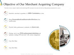 Objective Of Our Merchant Acquiring Company Ppt Icon