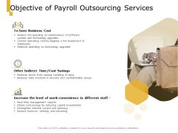 Objective Of Payroll Outsourcing Services Ppt Powerpoint Presentation Infographics Visual Aids