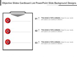 Objective Slides Cardboard List Powerpoint Slide Background Designs