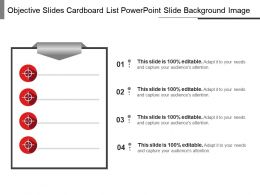Objective Slides Cardboard List Powerpoint Slide Background Image