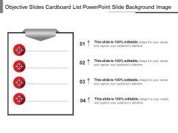 Objective Slides Cardboard List Powerpoint Slide Background Image