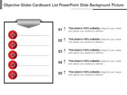 Objective Slides Cardboard List Powerpoint Slide Background Picture