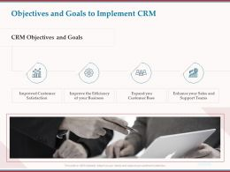 Objectives And Goals To Implement CRM Ppt Powerpoint Presentation Gallery Icon