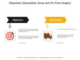 Objectives Deliverables Arrow And Pin Point Graphic