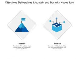 Objectives Deliverables Mountain And Box With Nodes Icon