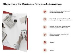 Objectives For Business Process Automation Work Ppt Powerpoint Presentation Icon Picture