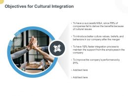 Objectives For Cultural Integration Ppt Powerpoint Presentation File Formats