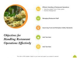 Objectives For Handling Restaurant Operations Effectively Point Ppt Powerpoint Presentation File Tips