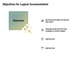 Objectives For Logical Incrementalism Achieve Ppt Powerpoint Presentation Layouts Display