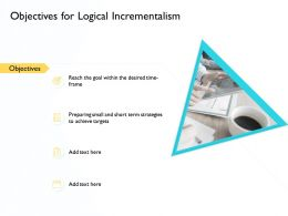 Objectives For Logical Incrementalism Achieve Targets Ppt Presentation Deck