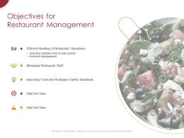 Objectives For Restaurant Management Ppt Powerpoint Presentation Layouts Icon
