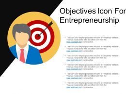 Objectives Icon For Entrepreneurship Ppt Model