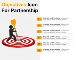 Objectives Icon For Partnership 2 Ppt Presentation Examples