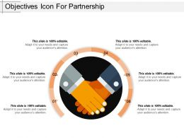 Objectives Icon For Partnership Ppt Sample