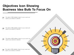 Objectives Icon Showing Business Idea Bulb To Focus On