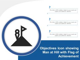 Objectives Icon Showing Man At Hill With Flag Of Achievement