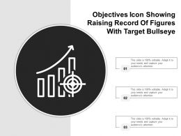 Objectives Icon Showing Raising Record Of Figures With Target Bullseye