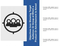 Objectives Icon Showing Target Audience Or Group At Which A Product Or Advertisement Is Aimed
