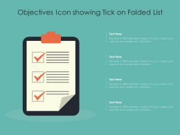 Objectives Icon Showing Tick On Folded List