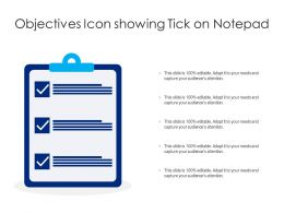 Objectives Icon Showing Tick On Notepad