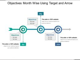 Objectives Month Wise Using Target And Arrow