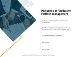 Objectives Of Application Portfolio Management Eliminate Redundant Ppt Slides