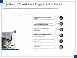 Objectives Of Stakeholders Engagement In Project Engagement Management Ppt Topics