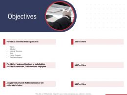 Objectives Provide An Overview Of The Organization Ppt Template Outline