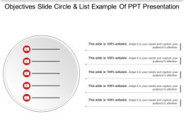 Objectives Slide Circle And List Example Of Ppt Presentation