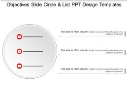 Objectives Slide Circle And List Ppt Design Templates