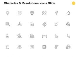 Obstacles And Resolutions Icons Slide Technology Checklist Ppt Powerpoint Presentation Icon Skills