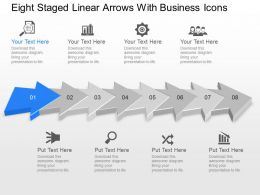 Oc Eight Staged Linear Arrows With Business Icons Powerpoint Template