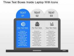 oc Three Text Boxes Inside Laptop With Icons Powerpoint Template