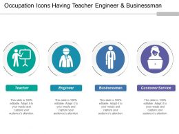 Occupation Icons Having Teacher Engineer And Businessman