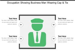 Occupation Showing Business Man Wearing Cap And Tie