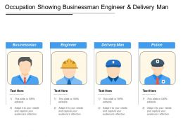Occupation Showing Businessman Engineer And Delivery Man
