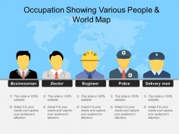 Occupation Showing Various People And World Map