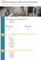 Occupational Therapy Company Directors Declaration Presentation Report Infographic PPT PDF Document