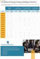 Occupational Therapy Company Meetings Of Directors Presentation Report Infographic PPT PDF Document