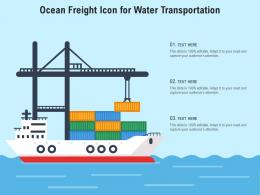 Ocean Freight Icon For Water Transportation