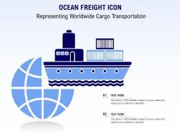 Ocean Freight Icon Representing Worldwide Cargo Transportation