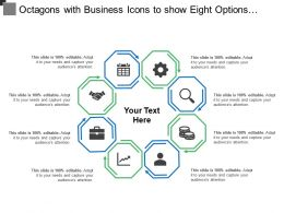 Octagons With Business Icons To Show Eight Options Parts Steps Or Processes