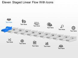 Od Eleven Staged Linear Flow With Icons Powerpoint Template