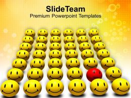 Odd One Out Smiley Spreading Happiness Powerpoint Templates Ppt Themes And Graphics 0113
