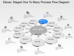 Oe Eleven Staged One To Many Process Flow Diagram Powerpoint Template