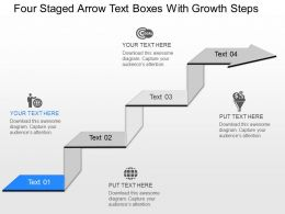 oe Four Staged Arrow Text Boxes With Growth Steps Powerpoint Template
