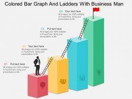 of Colored Bar Graph And Ladders With Business Man Flat Powerpoint Design