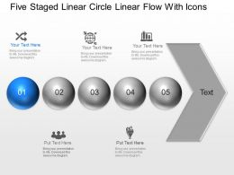 Of Five Staged Linear Circle Linear Flow With Icons Powerpoint Template