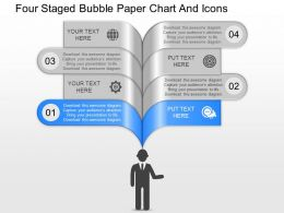 of Four Staged Bubble Paper Chart And Icons Powerpoint Template