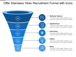 Offer Interviews Hires Recruitment Funnel With Icons
